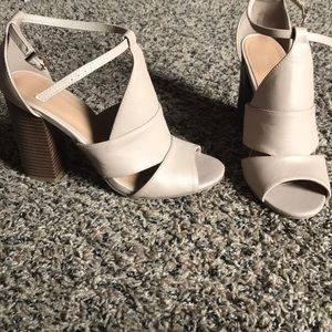 Nude faux leather heels w/ adjustable ankle strap